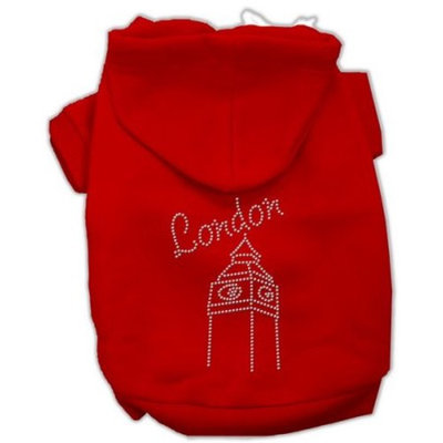 Mirage Pet Products London Rhinestone Hoodies, Red, 2X-Large/Size 20
