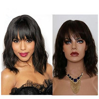 Lace Front Human Hair Wigs with Bangs Natural Wave Glueless Human Hair Wigs Short Bob wig Human Hair Lace Wigs Natural Color for Black Women (12