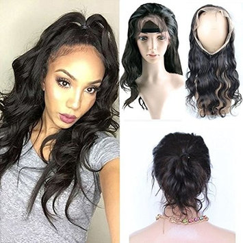 Brazilian Body Wave 360 Lace Band Frontal Closure with Natural Hairline for Black Women Natural Color 14inch