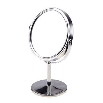 Rocutus 1pcs Round Rotary Desk Mirror Double Sided Magnifying Makeup Table Mirror with Stand for Women