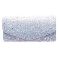 Girls Silver Shiny Rhinestone Embellished Purse Clutch