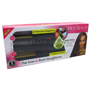 Kiss Products Hot Beauty Mini Root Straightener and Flat Iron, 1 Inch, 1.2 Pound