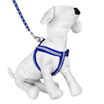 Cue Cue Pet Braided Choke Free Harness w/ Leash for Walking or Exercise (Blue/Grey)