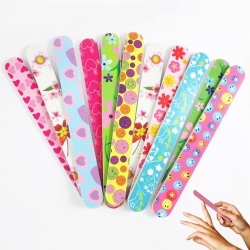 Atb 12 Double Sided Nail File Emery Board Manicure Pedicure Assorted Gift Set Design