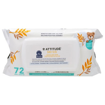ATTITUDE, Sensitive Skin Care, Baby, Natural Baby Wipes, Fragrance Free, 72 Wipes