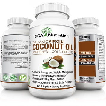 Organic Virgin Coconut Oil 120 Caps 2000mg Source Of MCFAs   Unrefined Cold Pressed Oil Supplement   Improve Wellness & Skin Health, Promote Weight Loss, Lower Cholesterol & Curb Appetite
