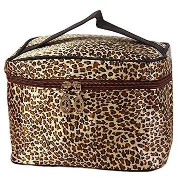 LandFox Women's Leopard Print Cosmetic Bags Travel Makeup Bag Make Up Bags
