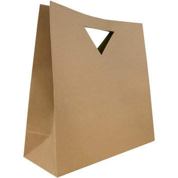 Jam Paper Large Kraft Die Cut Heavy Duty Bag With Triangular Handle - 15 x 15 x 5.5 - sold individually