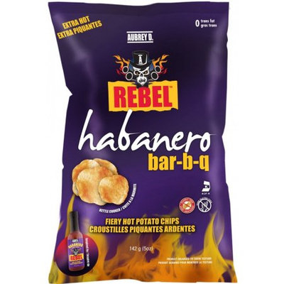 Extra Hot Habanero Bbq Style Potato Chips from Aubrey D. Rebel - Handcrafted with Fiery Perfection from the Kettles to the Bags.