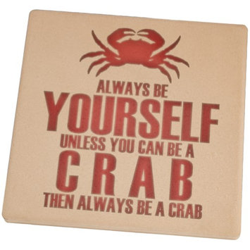 Animal World Always Be Yourself Crab Set of 4 Square Sandstone Coasters