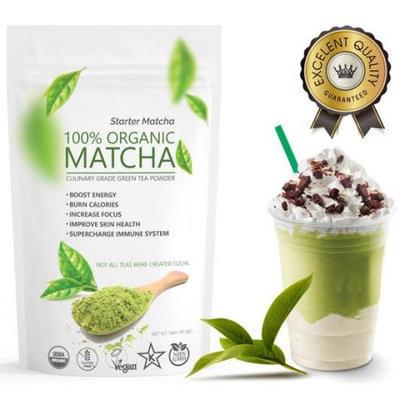 Wmbr Corp Organic Starter Matcha(16oz) Culinary Green Tea - USDA Organic - Perfect for Making Green Tea Latte or Frappe