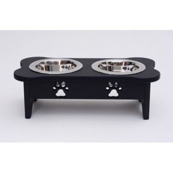 Woodland Imports Carved Paws Double Bowl Elevated Feeder