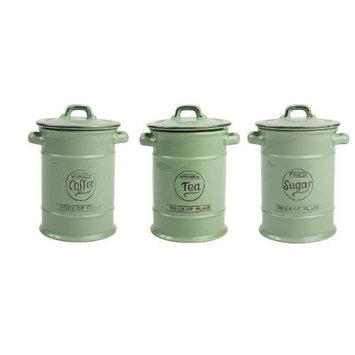 Pride of Place Tea Coffee and Sugar Storage Jars Green by T AND G