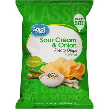 Wal-mart Stores, Inc. Great Valueâ ¢ Sour Cream & Onion Flavored Potato Chips 16 oz. Bag