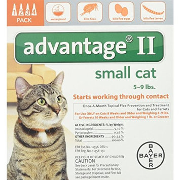 Bayer Advantage II Flea Control for Cats (5-9 Pounds/4 Months). Control, Treatment, Prevention, kills