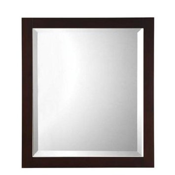 Home Decorators Collection Fraser 32 in. H x 28 in. W Framed Single Wall Mirror in Espresso