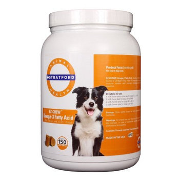 Stratford Pharmaceuticals EZ-CHEW Omega 3 Fatty Acid Max Strength for Large and Giant Breeds 150 Count