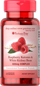Puritan's Pride Raspberry Ketones and White Kidney Bean 600mg Complex-60 Capsules