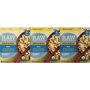 Betteroats Raw Pure & Simple Organic Bare Instant Multi Grain Hot Cereal with Flax (Pack of 3)
