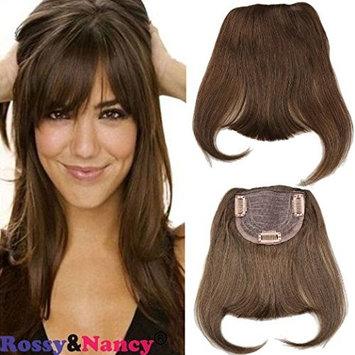 Rossy&Nancy Natural Black Color Brazilian Human Hair Clip-in Hair Bang Full Fringe Short Straight Hair Extension for women 6-8inch