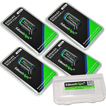 4 Pack Genuine EdisonBright RCR123A 650mAh rechargeable protected li-ion type 16340 EBR65 batteries with BBX3 battery Box