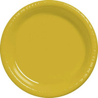 Amscan 630730.09 Sunshine Yellow Plastic Dessert Plates 7 in. - Pack of 300