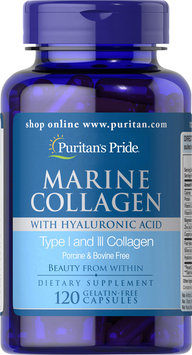 Puritan's Pride Marine Collagen with Hyaluronic Acid-120 Capsules