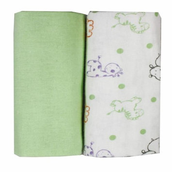 Rose Textile 5912 Flannel Receiving Blankets Green - Pack of 2