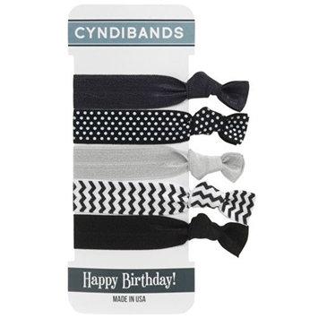 CyndiBands Elastic Hair Ties - Happy Birthday Black/White Set of 5