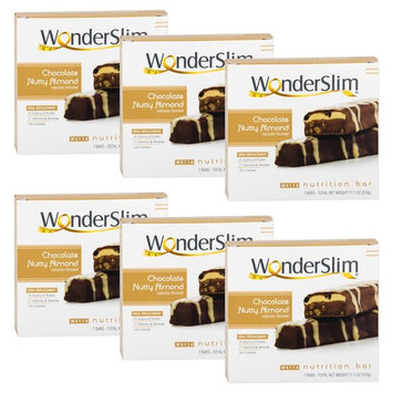 WonderSlim High Protein Meal Replacement Bar - High Fiber, Kosher, Chocolate Nutty Almond - 6 Box Value-Pack (Save 10%)