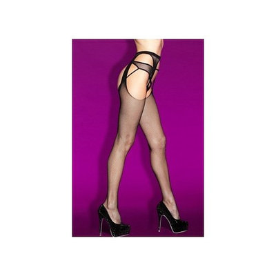 Faux Thigh Hi With Garter 2712 by iCollection Black