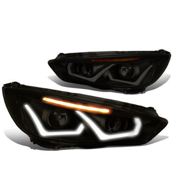 Dna Motoring 15-17 Ford Focus Pair of Dual U-HALO DRL + LED Turn Signal Projector Headlight (Black Housing Smoked Lens Amber Signal)