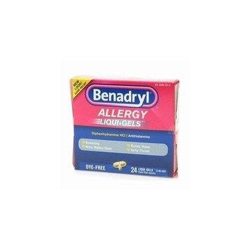 Benadryl Dye-Free Allergy Relief LiquiGels -- 24 Liquid Gel Capsules - Buy Packs and SAVE (Pack of 4)