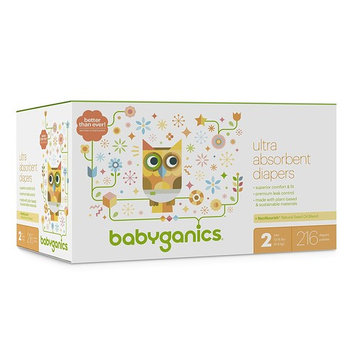 Babyganics Ultra Absorbent Diapers, Size 2, 216 Count [216]