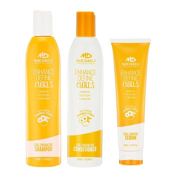Perfect Curls Sulfate Free Shampoo, Conditioner & Curl Control Serum Set - Reduce Dry, Frizzy Hair for Perfect Curls with Ultimate Definition, Body, Bounce & Shine - Marc Daniels Professional