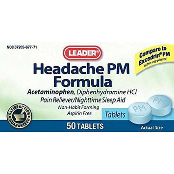 Leader Headache PM Formula Tablets, 50ct (5 Pack)