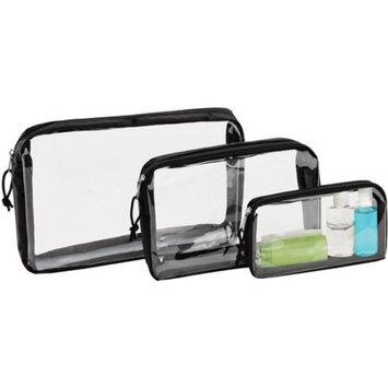 Kennedy International Inc G-Force 3-Piece Black-Clear Travel Organizer Bags