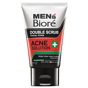 Biore Men's Double Scrub Acne Solution 100g -clear acne troubles, Controls oils, Antibacterial, Anti-acne, Deep detox