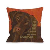 One Bella Casa Labrador 3 Throw Pillow, 20 by 20-Inch [Labrador 3]