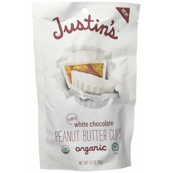 Organic Mini White Chocolate Peanut Butter Cups by Justin's, Rainforest Alliance Certified Cocoa, Gluten-free, Responsibly Sourced, 6 Stand-up Bags (4.7oz each)