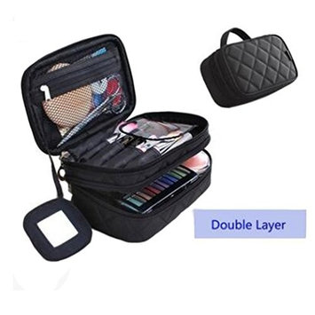 Make up Travel Case Double Layer Cosmetic Brush Bag With Mirror For Women
