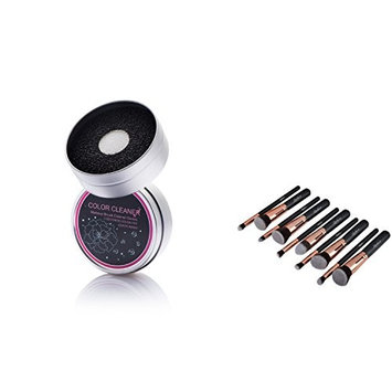 Zodaca 10 Pcs Fluffiest & softest Makeup Brush Set+ Brush Color Removal Duo Sponge, Swiftly Switch/Remove Shadow Color, Black/Rose G