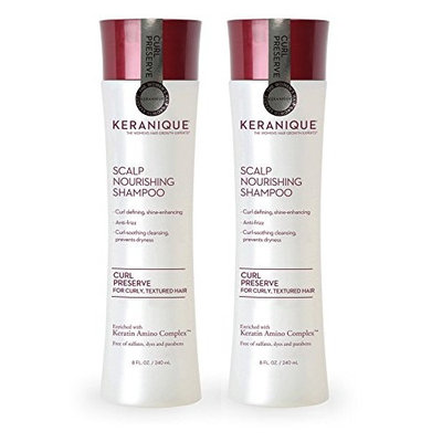 Keranique Curl Preserve | Scalp Nourishing Shampoo for Curly, Textured Hair - Sulfate Free, Paraben Free, Anti Breakage, Mild Formula 8 fl oz.
