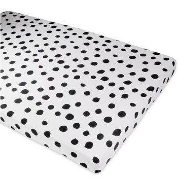 Ely's & Co Crib Sheet Set Toddler Sheet Set 2 Pack 100% Jersey Cotton Black and White Abstract Stripes and Dots