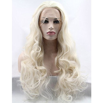 Riglamour Natural Synthetic Hair Blonde Lace Front Wigs for Women and Girls Half Hand Tied Long Wavy Heat Resistant Wig