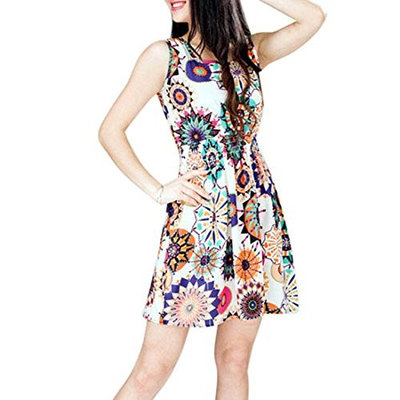 Lookatool 1pc Women Summer Sunflower Beach Mini Dress