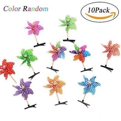 Windmill Clips - Children Hair Clip 10Pcs Cute Colorful Windmills Hairpin - Hair Accessories For Women Girl Lady By Sportsvoutdoors
