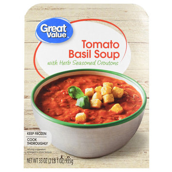 Great Value Tomato Basil Soup with Herb Seasoned Croutons, 33 oz
