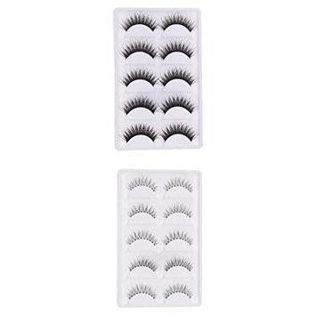 Homyl 10 Pairs Makeup Thickness False Eyelash Natural Messy Cross Sparse Eye Lashes Extension
