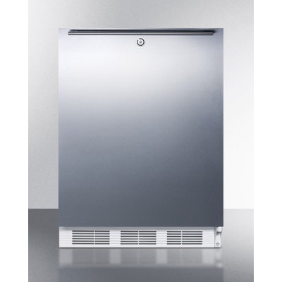 SUMMIT ADA compliant freestanding refrigerator with lock, stainless steel door, and horizontal handle